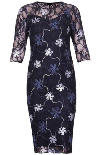 Mesdames Floral Foil Imprimer manches 3//4 Robe Moulante Femmes Fancy Party Wear Dress