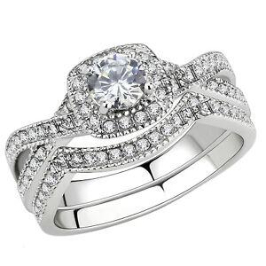 Stainless-Steel-Women-039-s-Infinity-Wedding-Ring-Set-Halo-Round-Cut-Cubic-Zirconia