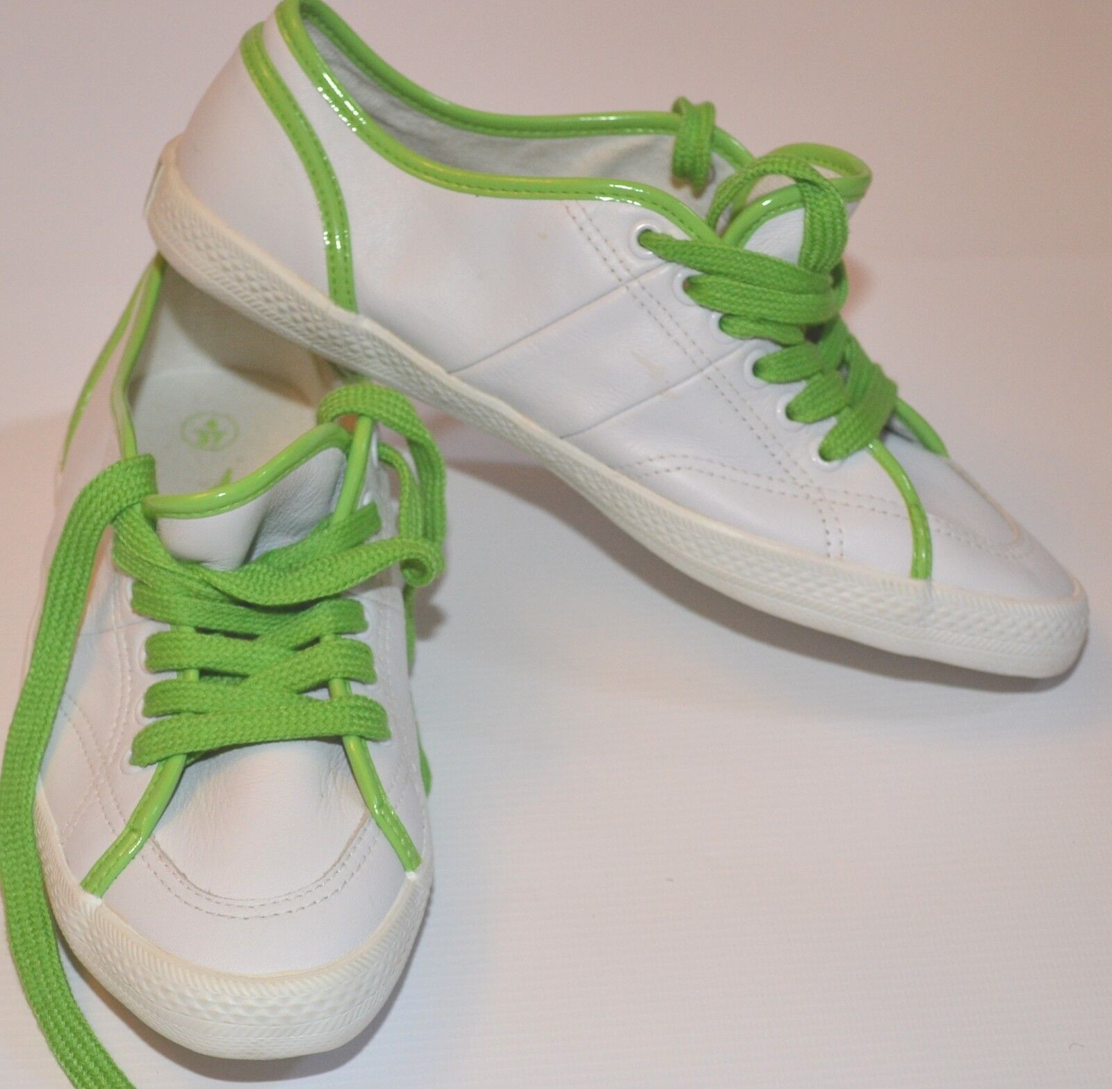 WHITE LEATHER   GREEN LACE-UP GOLA SNEAKER TRAINER TENNIS SHOE US 6 EURO 37