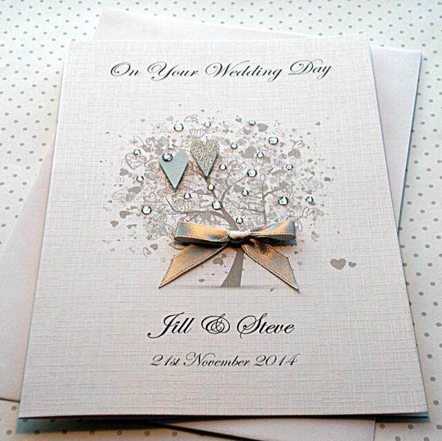 Large Luxury Wedding Day Anniversary Card Handmade Personalised Crystal Tree