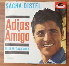 """Single 7"""" Vinyl Sacha Distel - Adios Amigo - 1962 - Polydor 24909"""