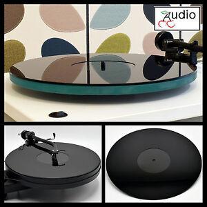 Noir-brillant-acrylique-platine-platter-mat-convient-rega-thorens