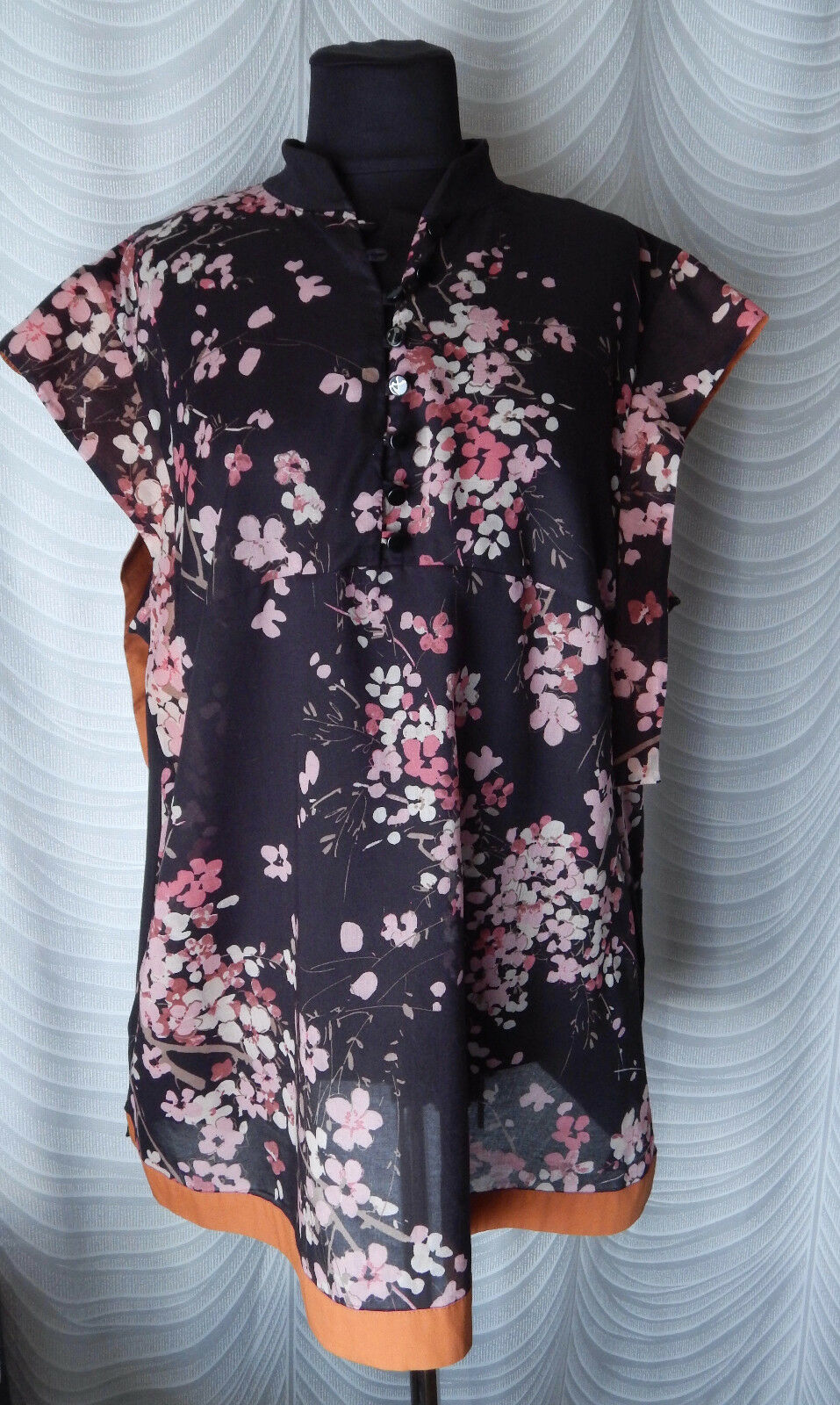 ✔Marina Rinaldi Sport T-Shirt Blouse schwarz Floral Short Sleeve Größe XL
