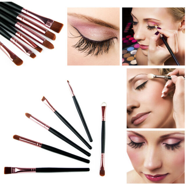 6x Makeup Eye Smudge Brush Set Shadow Eyeshadow Nose Eyeliner Brush