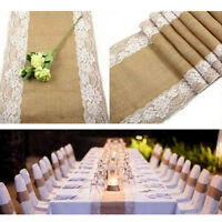 "12"" X 108"" Burlap Lace Table Runner Natural Jute Rustic Wedding Decoration Hot"