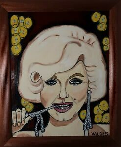 DMVAG-THE-MONROE-ORIGINAL-PORTRAIT-OIL-PAINTING-16x20-in-wood-frame-signed