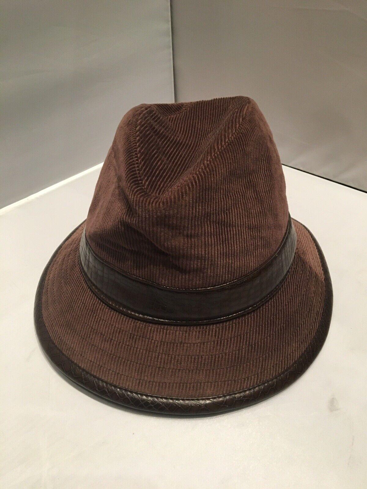 Hermoso Adorno De Cuero/Pana Marrón Accessorize sombrero de Fedora, nuevo