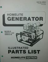 Homelite 180a75-1 A Generator Parts Manual 4p Survival Camping Preppers Off-grid