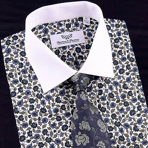 White-Contrast-Cuff-and-Collar-Business-Dress-Shirt-Formal-Floral-Casual-Apparel