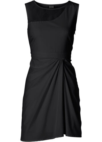 Zauberhaftes Kleid mit Raffung und Spitze in Schwarz Gr 34 Q4734-974616