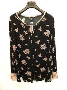 Torrid-3-3X-Black-Pink-Floral-Print-Gauze-Ruffle-Sleeve-Blouse-Shirt-Tie-V-Neck