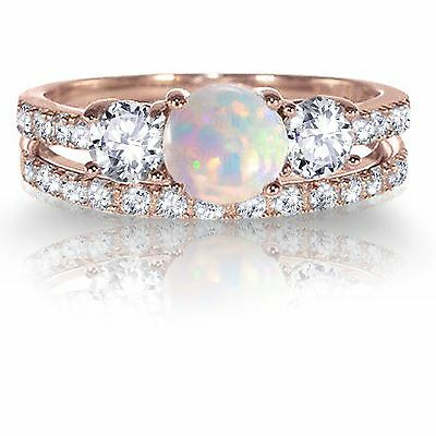 5 Ct Oval White Opal Solitaire Ring Women Jewelry Gift 14K Rose Gold Plated