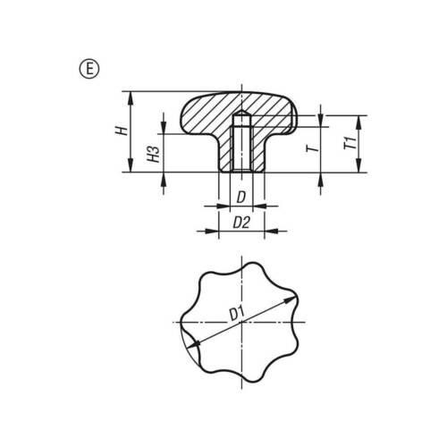 Sterngriff DIN 6336 E Ø80 M16 Aluminium