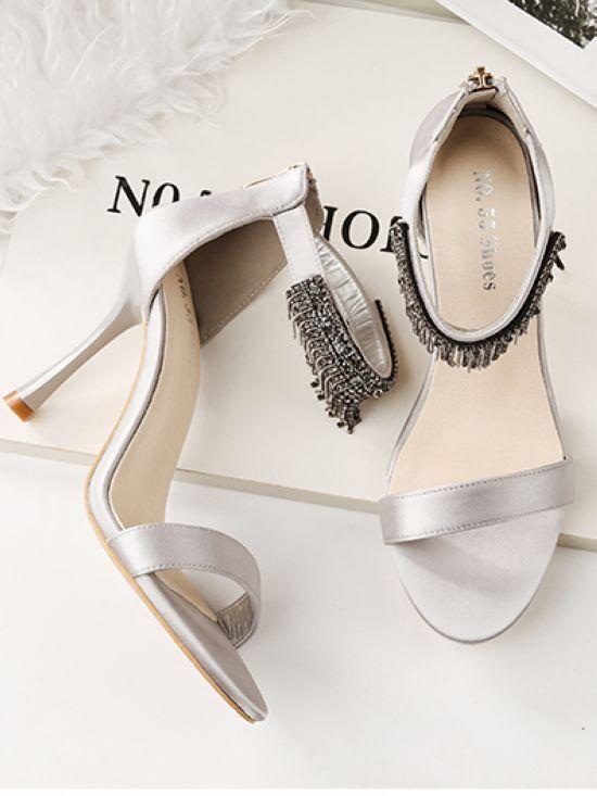 Sandali stiletto eleganti  9.5 cm silver simil pelle simil pelle eleganti 8881