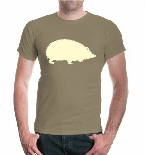 Hommes unisexe manches courtes T-shirt Hérisson-Animal-Silhouette Hedgehog stacheltier