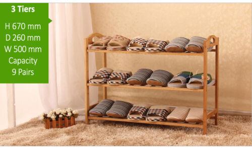 3-5 Tier Bamboo Wooden Shoe Rack Storage Stackable Footwear Stand Organiser