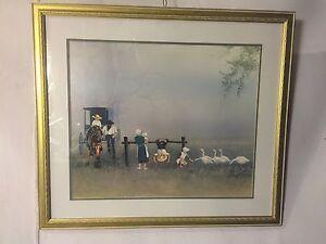 Lithograph-Amish-Family-Signed-034-Steve-polomchak-034-C12pix4closeups-size-amp-MAKE-OFER