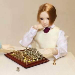 Puppenhaus-Miniatur-Vintage-Silber-Gold-Schachspiel-Pretend-Toy-1-12th-Scale
