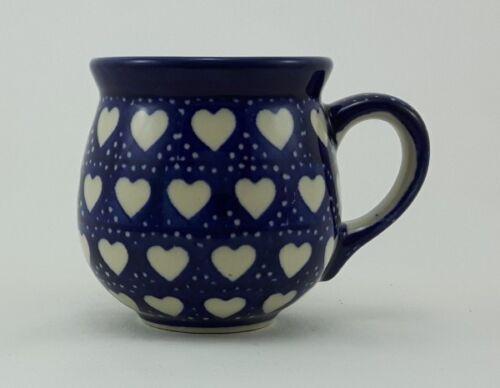 blau//weiß Herzen 0,18 Liter, Bunzlauer Keramik Tasse BÖHMISCH MINI K067-SEM