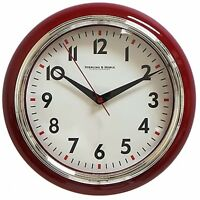 Sterling And Noble Retro Diner Wall Clock Excellent Bedroom Red Set