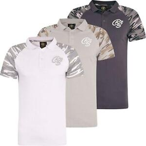 Mens-Crosshatch-Army-Polo-T-Shirt-Collared-T-Shirt-Camo-Sleeve-Casual-Top-Tee