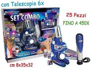 MICROSCOPIO 450X + TELESCOPIO 6X SET 2 PZ CON ACCESSORI TEOREMA 70820