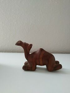 Vintage handcarved wooden camel lying down small hanfmade figurine dark wood