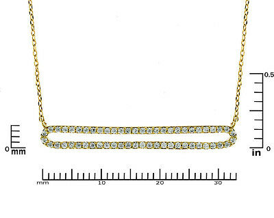 Pave AAA  Cubic Zirconia 33mm Open Double Bar Gold Plated Pendant Necklace