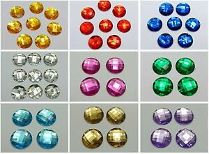 50-Acrylic-Flatback-Rhinestone-Round-Gem-Beads-NO-HOLE-20mm-Pick-Your-Color