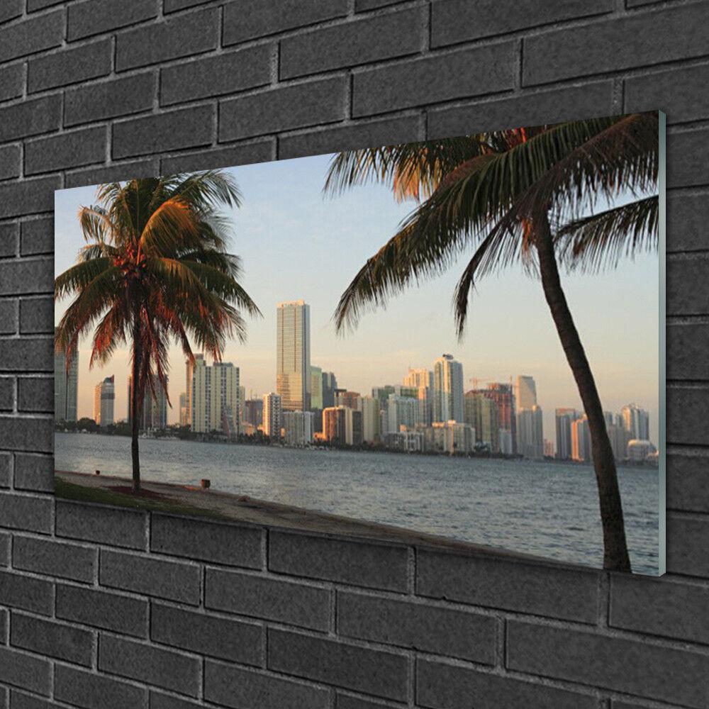 Murales vidrio 100x50 imagen edificio presión sobre vidrio ciudad palmeras edificio imagen 542ef5