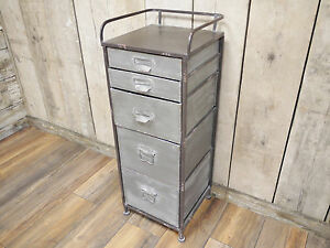 outlet store 13b10 fe440 Details about Industrial Metal 5 Chest Drawer Storage Cabinet Organiser  Unit Bathroom Cupboard