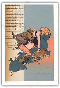 Candide Affiche Serigraphie Bd Hermann Poubelles Hc Signé 30x45 Saveur Pure Et Douce