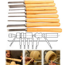 8pc HSS Wood Lathe Turning Tool Chisel Set Gouge Skew Parting Spear Carving Tool