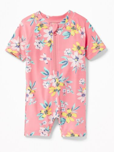 Old Navy Baby Girl/'s Pink Floral Rashguard One Piece Swim Suit NWT 6-12 M