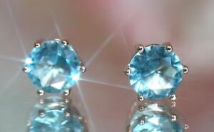 3Ct-Round-Cut-Real-Natural-Aqua-Blue-Topaz-Stud-Earrings-Silver-Rose-Gold-Finish