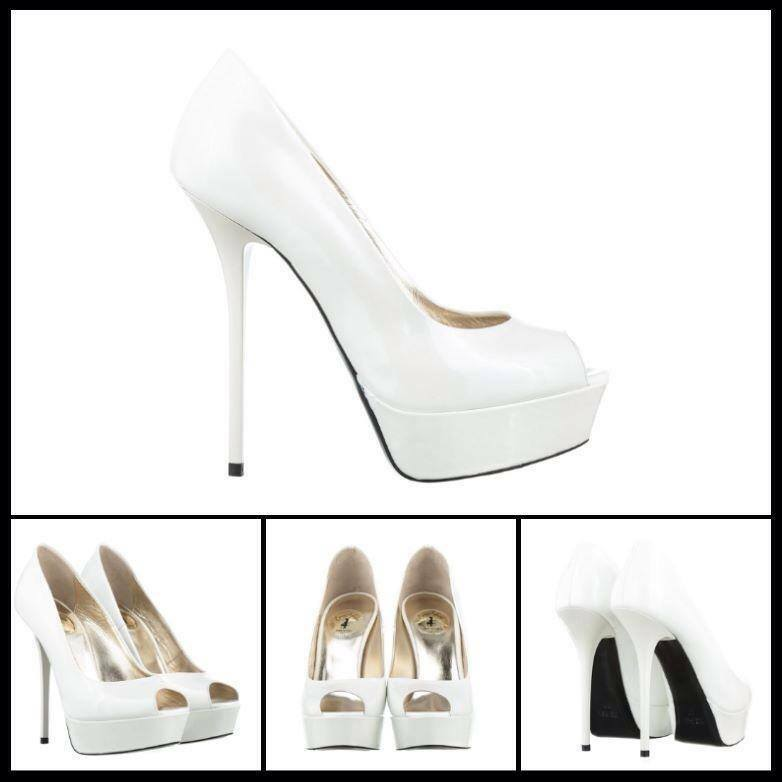 PUMPS COURT SHOES PLATFORM PEEP TOE ITALY HIGH HEELS LEATHER PATENT WHITE 39