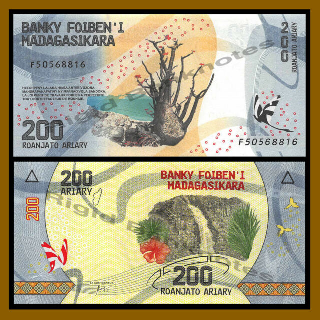 Madagascar 200 Ariary, 2017 P-New Tree Butterfly Waterfall Colorful Unc