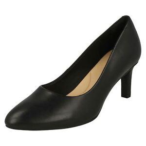 12fda48083aac Image is loading CLARKS-Calla-Rose-Ladies-Black-Leather-Mid-Heel-