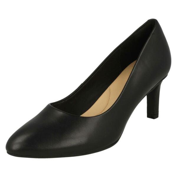 *oferta* Clarks Cala Rosa Mujer Piel Negro Salón Tacón Medio Zapato Materiales De Alta Calidad