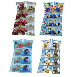 kinder fleece bettw sche 135x200 cm dinotrux nemo talking tom feuerwehrmann ebay. Black Bedroom Furniture Sets. Home Design Ideas