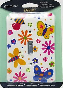 Girls-Butterfly-Flower-Power-Light-Wall-Switch-Plate-Metal-New