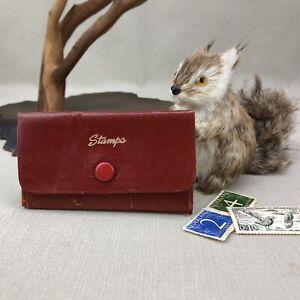 Artamount-Vintage-Red-Leather-6-Pocket-Postage-Stamp-Holder-Case-Wallet