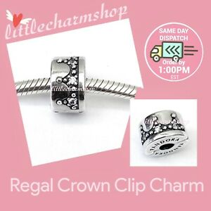 New-Authentic-Genuine-PANDORA-Silver-Regal-Crown-Clip-Charm-797634CZ-RETIRED
