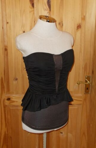 Stretch Black Corset Metallic Top Strapless Silver Next Party Peplum Padded 10 dpYqnwEn