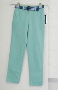 Polo Ralph Lauren Boys Twill Pants with Striped Belt Offshore Green Sz 14 - NWT