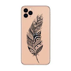 Coque Iphone 12 PRO MAX plumes noir
