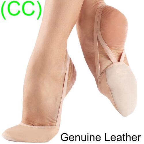 CC Leather Rhythmic Shoes Toe Half Gymnastics Pink Nude Lyrical Dance New