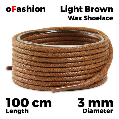 Wax Cotton Thin Round Dress Shoelaces Black Brown Waxed Cord Laces 80 100 120 cm
