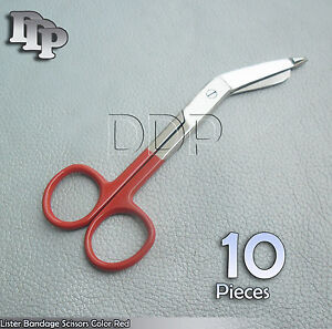 10-Bandage-Scissor-5-5-039-039-Red-Color-Handle-Paramedic-EMS-Nurse-Medical-Uniform