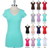V NECK TEE SHIRT Short Sleeve Basic Plain Tunic Cotton Long TOP T-shirt S M L